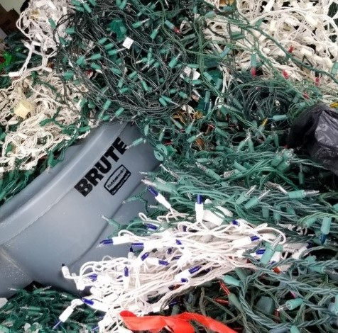 Almost 600 lbs. of Christmas Lights recycled!